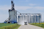 a grain truck leaves an inland grain terminal after delivering a load of grain, near Winnipeg, Manitoba, Canada