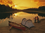 father and son fishing, Whiteshell Provinncial Park, Manitoba, Canada