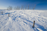 snow drifts caused by wind, near Pangman, Saskatchewan, Canada