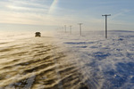 road covered with blowing snow, near Verwood, Saskatchewan, Canada