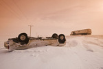 accident on road covered with ice and snow, near Assiniboia, Saskatchewan, Canada