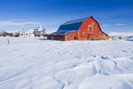 red barn and grain elevator, Willow Bunch, Saskatchewan, Canada