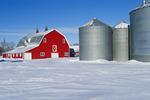 red barn and grain bins near Torquay Saskatchewan, Canada
