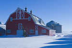 red barn and grain bins near Torquay Saskatchewan, Canada