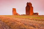 grain elevators, abandoned town of Lepine, Saskatchewan, Canada