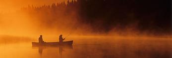 canoeing and fishing, Whiteshell River, Whiteshell Provincial Park, Manitoba, Canada