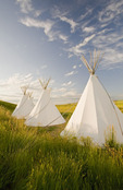 Tipis, The Crossing Resort, edge of the Grasslands National Park, near Val Marie, Saskatchewan, Canada