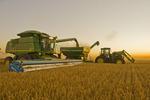 a combine unloads barley in to a grain wagon on the go near Ponteix,  Saskatchewan, Canada