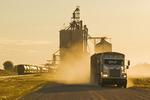 a truck leaves an inland grain terminal after hauling grain, near Humboldt, Saskatchewan, Canada