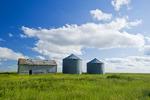abandoned grain bins in  field near Val Marie, Saskatchewan, Canada
