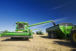 combine harvesters unload into grain wagons during the canola harvest, near Kamsack, Saskatchewan, Canada