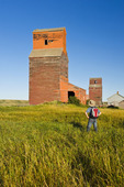 old grain elevators , ghost town of Neidpath, Saskatchewan, Canada