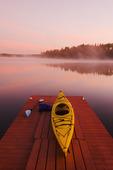 kayak on dock,  Lake of the Woods, Northwestern Ontario, Canada
