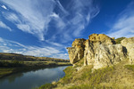 weathered rocks and sky filled with cirrus clouds, Writing On Stone Provincial Park, Alberta, Canada