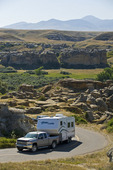 road through Writing On Stone Provincial Park, Alberta, Canada