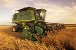 motion study of a combine harvesting spring wheat, near Somerset, Manitoba, Canada