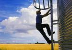 a farmer climbs a grain storage bin, wheat field and cumulonimbus cloud buildup in the background, near Lorette, Manitoba, Canada