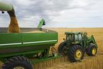 a combine empties durum wheat into a grain wagon on the go, near Ponteix, Saskatchewan, Canada