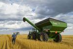 a man walks towards his tractor and grain wagon, during the durum wheat harvest, near Ponteix, Saskatchewan, Canada