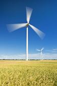 wheat field and wind turbines, near Swift Current, Saskatchewan, Canada