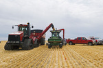 a combine empties durum wheat for on site storage, near Ponteix, Saskatchewan, Canada