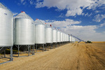 close up of grain storage bins, near Elrose, Saskatchewan, Canada
