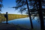 hiker, Hanging Heart Lakes, Prince Albert National Park, Saskatchewan, Canada
