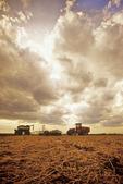tractor with air seeding equipment seeding canola, Manitoba, Canada