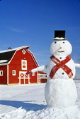 red barn and snowman, near Oakbank,  Manitoba, Canada