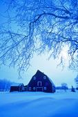 red barn , winter, Grande Pointe,  Manitoba, Canada