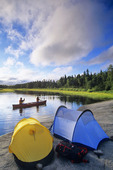 family camping and canoeing, Whiteshell River, Whiteshell Provincial Park, Manitoba, Canada