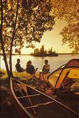 family camping, Otter Falls, Whiteshell Provincial Park, Manitoba, Canada