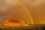 old graineries, rainbow near Hamiota, Manitoba, Canada