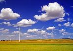 cumulus clouds/wind turbines, near St. Leon, Manitoba, Canada