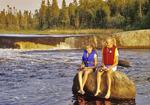 two girls fishing, Rainbow Falls, whiteshell Provincial Park, Manitoba, Canada