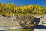 erratic rock, precambrian shield rock along the Winnipeg River, near Seven Sisters, Manitoba, Canada