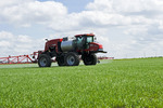 a high clearance sprayer applies herbicide to early growth wheat near Dugald, Manitoba, Canada
