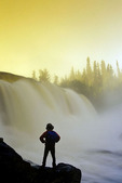 sunrise at Pisew Falls along the Grass River, Manitoba, Canada
