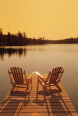 chairs on dock, Lyons Lake, Whiteshell Provincial Park, Manitoba, Canada