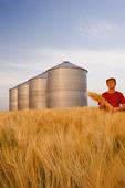 a man in a maturing barley field with grain bins in the background, near Carey, Manitoba, Canada
