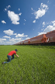 a man scouts an early growth barley field next to potash rail hopper cars,near Carman, Manitoba