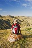 hiker, South Saskatchewan River Valley near Beechy,  Saskatchewan, Canada