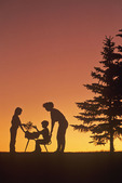 themes on learning and the environment-mother and children study spruce tree sapling