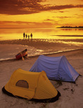 family camping, Lake Winnipeg, Manitoba, Canada