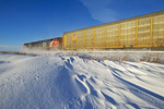 train, blowing snow, near Winnipeg, Manitoba, Canada