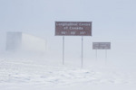 signage along Trans-Canada Highway east of Winnipeg during winter, Manitoba, Canada