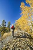 hiker, Dickens Lake,  Saskatchewan, Canada