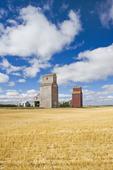 old grain elevators, ghost town of Lepine, Saskatchewan, Canada