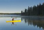 kayaking, Hanging Heart Lakes, Prince Albert National Park, Saskatchewan, Canada