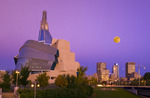 Winnipeg skyline showing the Canadian Museum for Human Rights,  Manitoba, Canada